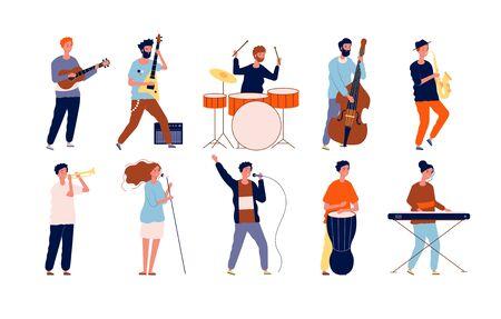 Personajes de músicos. Pueblos creativos en diferentes poses tocando instrumentos musicales y cantando. Músicos de vector. Hombre con instrumento, concierto ilustración de actuación musical