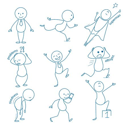 Business stickman. Hand drawn figures in different action poses running standing holding pointing sitting jumping vector business doodles. Illustration stickman cartoon drawing, figure character Stock Vector - 134672910