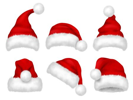 Santa red hat. Party fur christmas traditional velvet hat vector realistic images. Cap christmas, hat santa claus, costume to xmas holiday illustration
