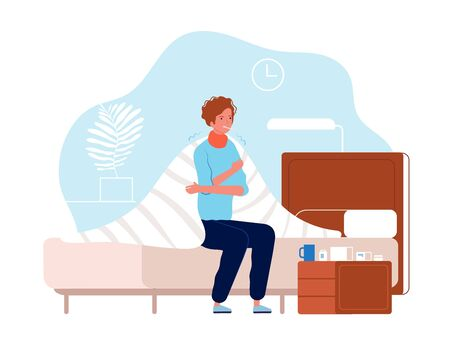 Person have flu. Man sickness ache in the body sitting with pressing head medication on table vector cold flu character. Illustration cold and flu, ill man character with thermometer Illustration