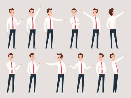 Businessman pointing. Managers male workers standing and direction pointing fingers successful person vector characters. Illustration businessman standing and show present Иллюстрация