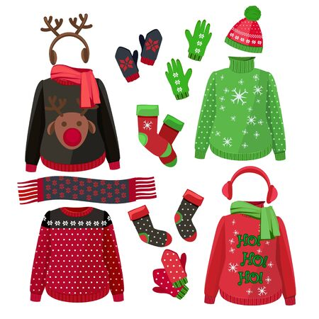 Christmas clothes. Winter ugly sweaters hats gloves scarves pullover with textile decoration vector pictures. Christmas hat and scarf, clothes jumper to winter holidays illustration Stock Illustratie