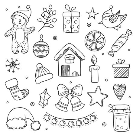 Christmas doodles. Winter season xmas characters animals cute gifts tree clothes snowflakes vector drawing pictures. Xmas snowflake drawing and cartoon christmas elements illustration