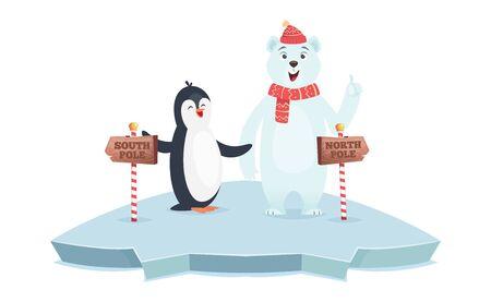 North South pole signs. Polar bear and penguin poles vector illustration. Cute cartoon animals on ice with wooden road signs. North and south direction message information Stok Fotoğraf - 133478898
