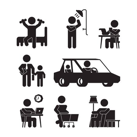 Daily routine icons. Active person lifestyle silhouettes wake up eating bathing working sleeping vector pictograms. Illustration daily routine life, wake and sleep
