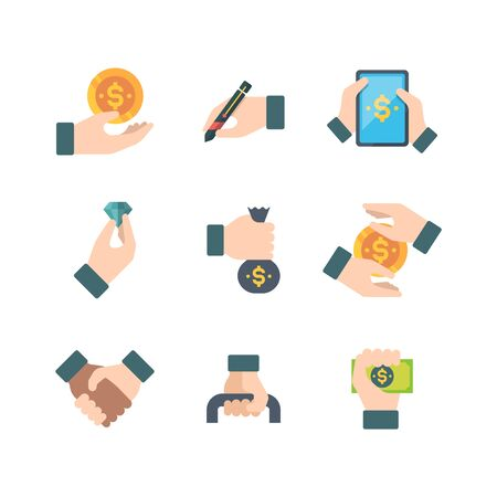Business hands. Holdings financial elements money financiers documents contracts briefcases managers vector hands flat icons. Illustration business hand with cash and icon, payment money