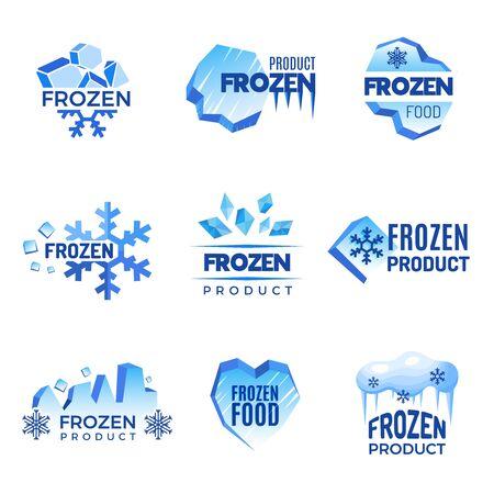 Marchio del ghiaccio. Distintivi astratti di prodotti congelati simboli vettoriali di freddo e ghiaccio. Distintivo di cristallo ghiacciato per l'illustrazione del prodotto congelato Vettoriali