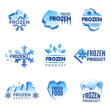 Ice logo. Frozen product abstract badges cold and ice vector symbols. Ice cold crystal badge for product frozen illustration