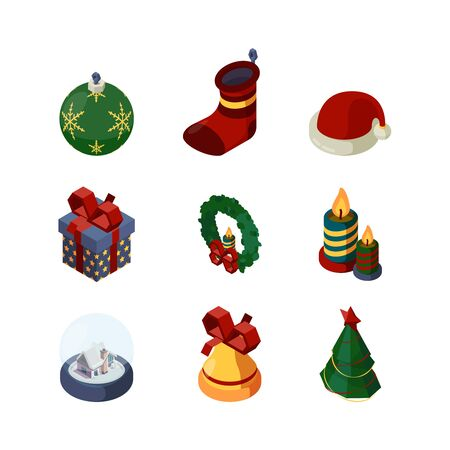 Xmas accessories. 3d happy new year celebration items bell cookie sweets tree candles candy gifts snow globe calendar vector isometric. Xmas gift, present candle, accessories isometric christmas
