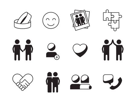 Friendship icon. Love relationship symbols family hope mutuality handshake vector collection. Illustration family love, female and male friendship romantic Vetores
