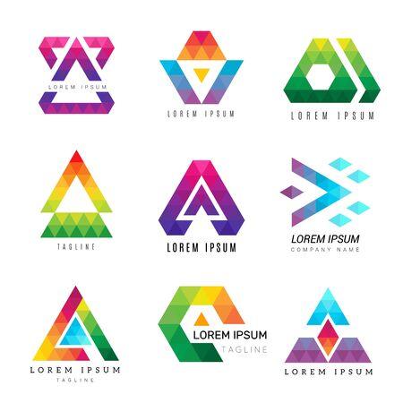 Veelhoekig driehoekslogo. Zakelijke gekleurde identiteit abstracte symbolen veelhoeken decoratieve vectorafbeelding. Illustratie moderne zakelijke geometrische veelhoek, logo corporate