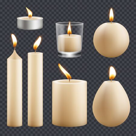 Candles collection. Decorative birthday celebration wax candles flame different types vector realistic pictures. Candle realistic for religion or decorative birthday illustration