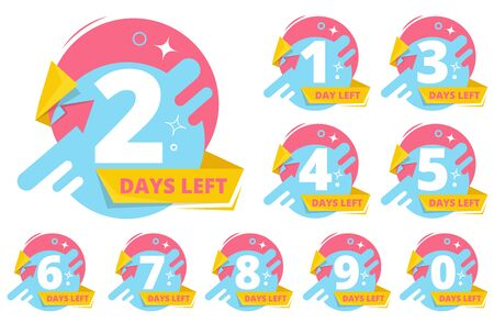 Day left badges. Numbers shopping sales time business stickers vector collection. Countdown announcement days left badge, timer to sale illustration  イラスト・ベクター素材