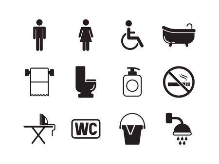 Símbolos de baños. Hombre y mujer lavando baños públicos descarga la colección de vectores de pictogramas de wc. Baño inodoro, pictograma wc público e ilustración de baño Ilustración de vector