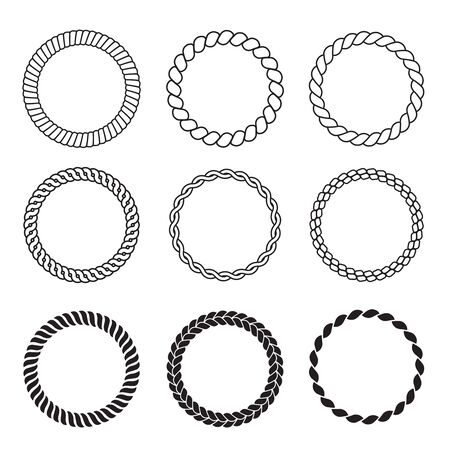 Round rope frames. Cable circle shapes strength decorative vintage ropes vector collection. Illustration cable thread, twine strong cord or rope