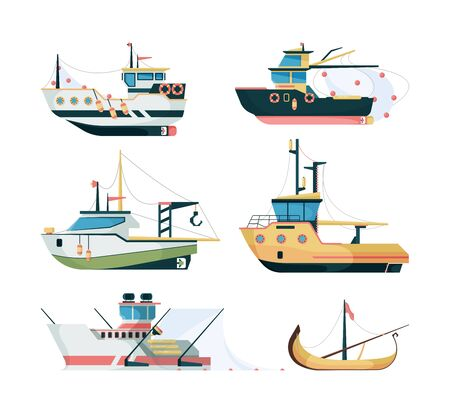 Fishing boats. Marine sailing transport for fishing big and small ships vector flat style. Illustration transportation marine, nautical boat fishing Stockfoto - 133630692