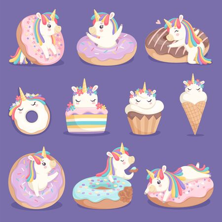 Unicorn donuts. Cute face and characters of magic rose little pony unicorn with cakes donuts ice cream vector dessert pictures. Unicorn with sweet cream, little cake and imaginative pony illustration Foto de archivo - 133630723