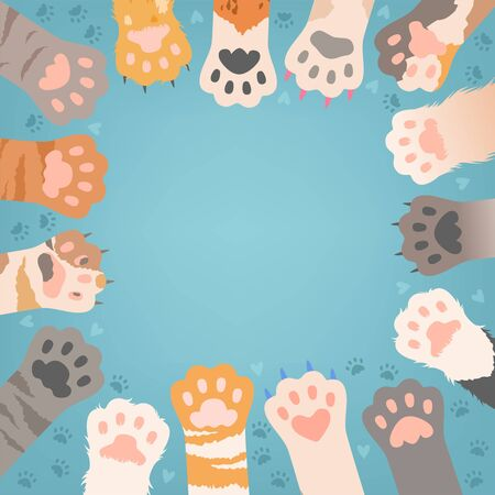 Cats paw background. Funny domestic kitten pets or wild animals different paws with claws vector illustrations. Paw cat with claw, animal wild kitty Фото со стока - 133630735