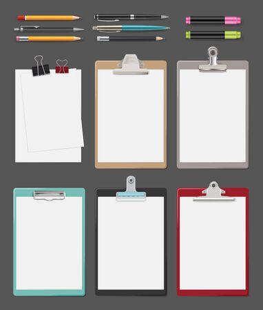 Presse-papiers. Fournitures de bureau notes de feuilles vierges sur la collection réaliste de presse-papiers de tablette vectorielle. Presse-papiers et feuille, crayon et stylo pour illustration de bureau