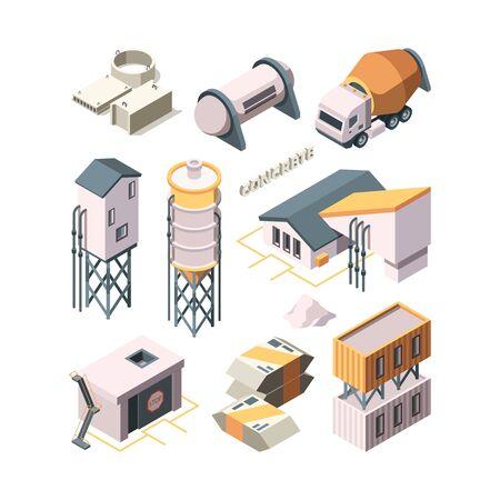 Producción de hormigón. Fábrica de cemento, industria, material, tecnología, hormigonera, transporte, tanques, vector, isométrico. Industria de construcción de cemento, producción de hormigón