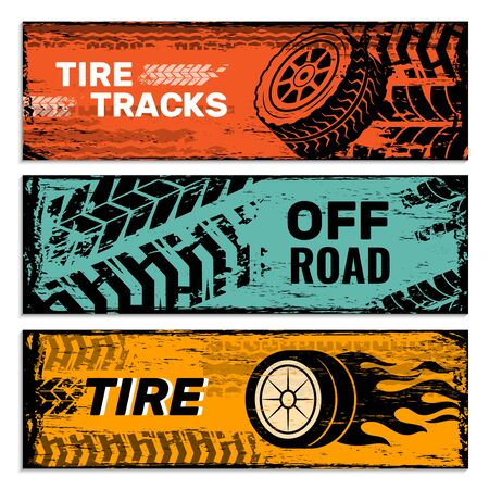 Wheels banners. Tires on road protector car dirt traces vector grunge graphics. Illustration poster card, web automobile service Иллюстрация