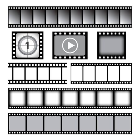 Film strip. Cinema or photo tape movie 35mm strip reels vector graphic template. Movie tape 35mm, cinema frame filmstrip illustration Çizim
