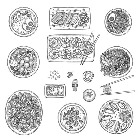 Asian kitchen. Chinese national cusine food top view korean oriental menu vector collection. Chinese oriental cuisine, dish view illustration