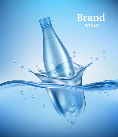 Bottle in water. Liquid flowing wave with transparent bottle splashes drops underwater environment aqua vector realistic background. Drink bottle in transparent wave water illustration