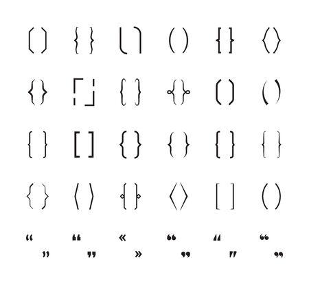 Parentesi graffe. I segni della scuola di parentesi stampano la grafica dei simboli vettoriali delle parentesi. Parentesi parentesi, illustrazione del carattere di tipo grafico