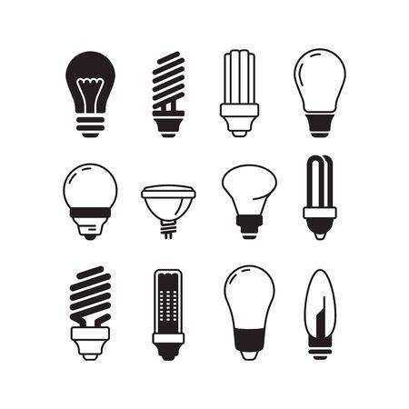 Bulb icons. Lights energy modern lamp vector bulb collection. Illustration light bulb power, energy save efficient