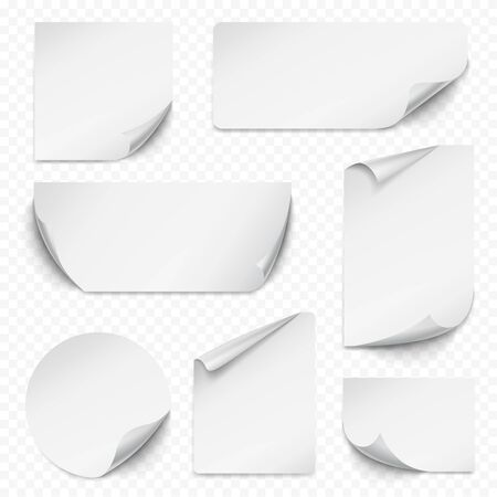 Curled sticker. Blank etiqueta rectangular paper with curved corners empty labels realistic collection vector. Illustration rectangular, sticker label, realistic paper note