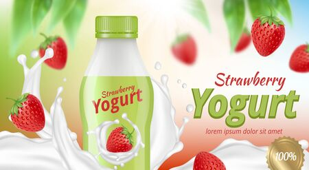 Yogurt advertising. Creamy delicious liquid food with fruits diet breakfast product in package vector realistic. Illustration yogurt advertising, sweet and healthy