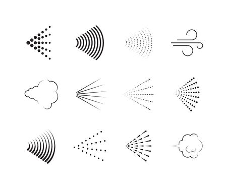 Spray icons. Gas nozzle shower air spray graphic symbols vector collection set. Illustration deodorant spray, air sprayer nozzle