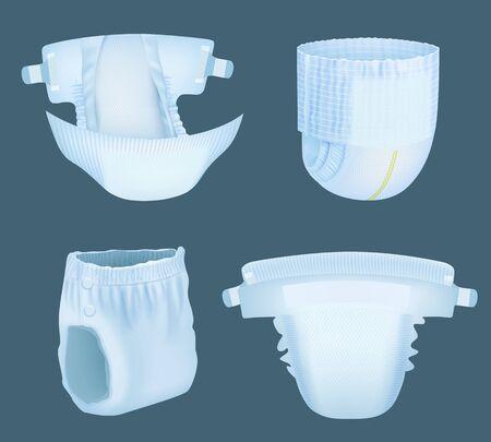 현실적인 기저귀. 오줌 흡수 벡터 템플릿 컬렉션을 위한 아기의 편안한 흰색 부드러운 요실금 기저귀. 부드러운 기저귀 편안하고 사실적인 흡수 및 안전 일러스트레이션