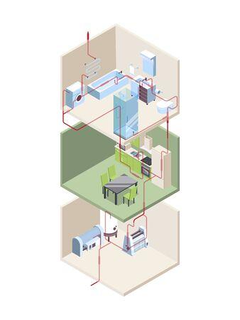 Instalación de tuberías. Cruce de la casa con tuberías de agua fría y caliente, sistemas modernos, vector isométrico. Sección transversal de la tubería, ilustración de instalación de construcción
