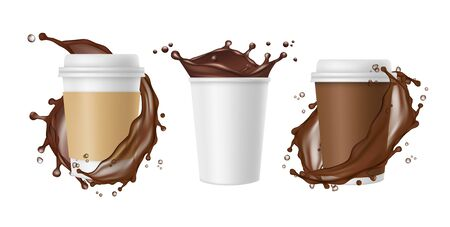Takeaway coffee. Vector coffee splashes and white realistic paper mug. Cup of chocolate, coffee drink mug, splash and fresh, take away illustration Illusztráció