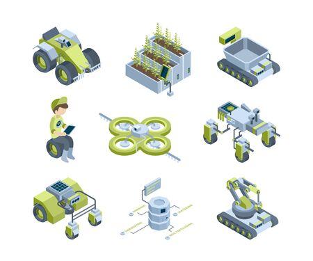 Agricoltura intelligente. Future macchine agricole industriali trattori per mietitrici innovativi robot per serre organiche funzionano con pannelli di illuminazione vettoriali isometrici. Illustrazione robot trasporto mietitrebbiatrice Vettoriali