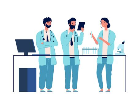 Doctors lab. Scientists characters standing near laboratory table make analysis medical or chemical education vector flat pictures. Doctor scientist in laboratory occupation illustration