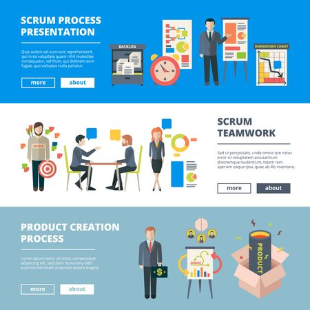 Scrum processes. Teamwork agile sprints software production collaboration project time management vector horizontal banners. Method planning and work, project management methodology illustration