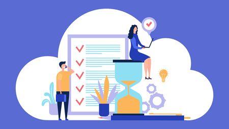 Time management concept. Effective management. Organizing work process vector illustration. Time management productivity, project process control