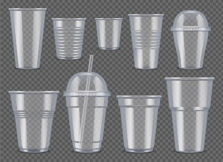 Plastic vessel. Transparent cups and mugs for drinks food bag for juice and coffee vector 3d realistic mockup. Illustration plastic mug for coffee and tea or other liquid Stock Illustratie