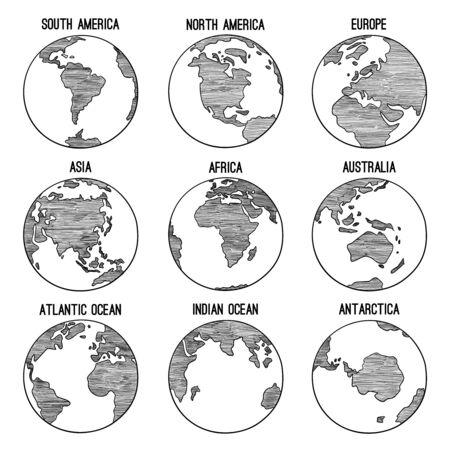 Doodle de globo terráqueo. Planeta bosquejado mapa américa india áfrica continentes vector ilustraciones dibujadas a mano. Globo mundo tierra, américa, áfrica, continente en todo el mundo