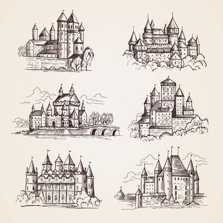 Castelli medievali. Vecchi edifici a torre architettura d'epoca antichi castelli gotici illustrazioni disegnate a mano di vettore. Torre della città, edificio turistico, famoso castello
