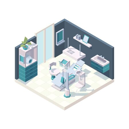 Dental cabinet. Clinic interior stomatology room with professional furniture dentists medical chair vector 3d isometric. Illustration dental interior isometric, dentist healthcare