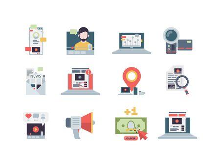 Icono del concepto de marketing. Gestión del rendimiento de la estrategia de blogs de negocios digitales de correo electrónico de contenido escribiendo símbolos vectoriales planos. Gestión de marketing social, blog de contenido e ilustración de vlog.