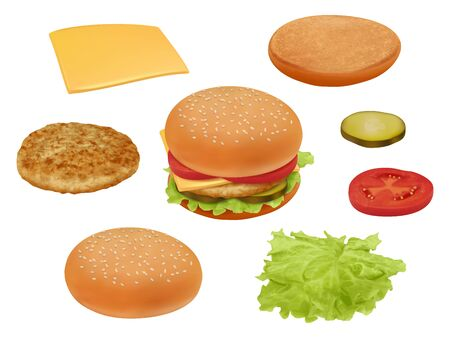 Hamburgher. Realistic fast food ingredients vegetables tomato beef meal salad delicious food vector constructor. Illustration hamburger or cheeseburger, lettuce and bread Illustration