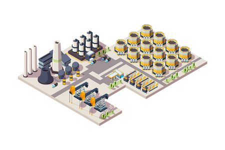Oil factory. Gas industrial building tanks equipment chemical refineries plants vector isometric illustration. Oil factory building, plant industrial manufacturing