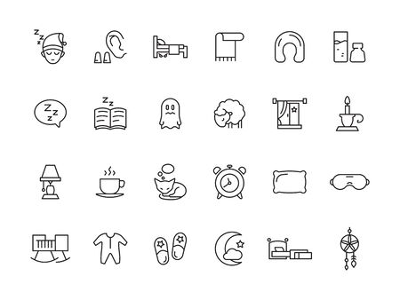 Sleeping symbols. Relax rest simple icons bed pillow clock teddy bear clouds vector sleep pictures collection. Illustration sleep icons, alarm and lamp