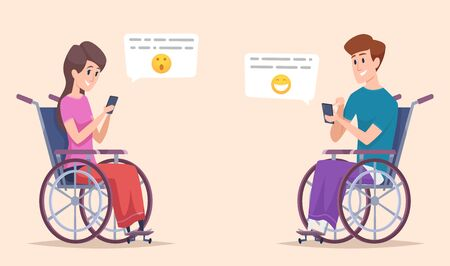 Disabled person online. Disability characters dating and chatting online smartphone handicapped vector illustration. Online people disabled, disability support Ilustrace