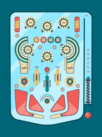 Pinball machine. Funny game ball spare strike childhood emotions boules button decorative vector graphic design pinball board template. Illustration machine activity playing, equipment pinball game